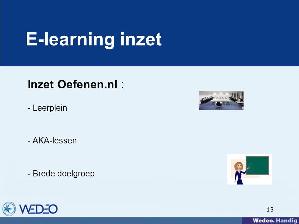 13 E-learning inzet Inzet Oefenen.nl : - Leerplein - AKA-lessen - Brede doelgroep