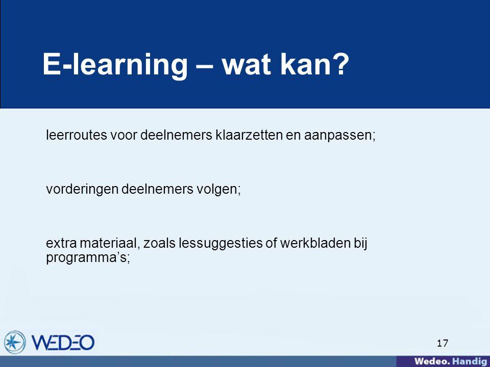 17 E-learning – wat kan.