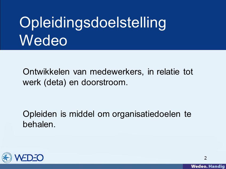 2 Opleidingsdoelstelling Wedeo Ontwikkelen van medewerkers, in relatie tot werk (deta) en doorstroom.