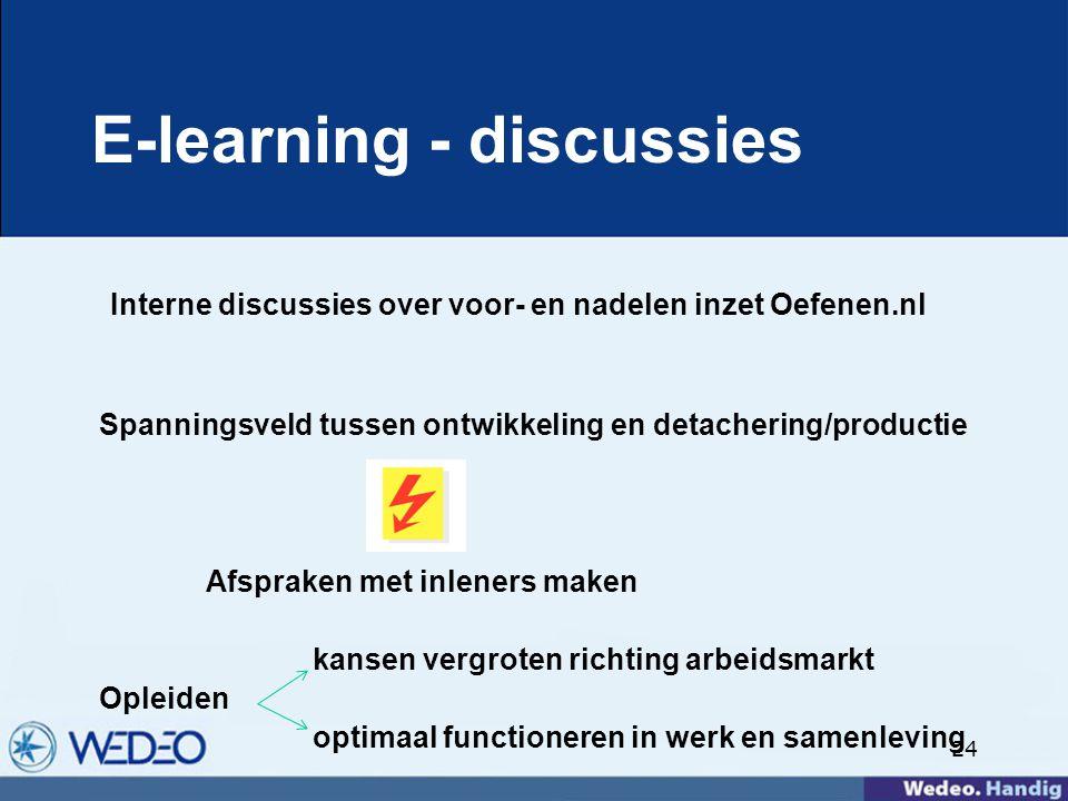 24 E-learning - discussies Interne discussies over voor- en nadelen inzet Oefenen.nl Spanningsveld tussen ontwikkeling en detachering/productie Afspraken met inleners maken kansen vergroten richting arbeidsmarkt Opleiden optimaal functioneren in werk en samenleving