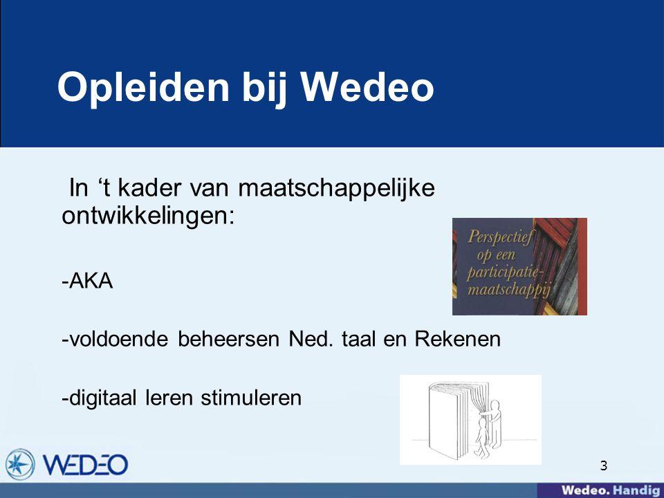 3 Opleiden bij Wedeo In 't kader van maatschappelijke ontwikkelingen: -AKA -voldoende beheersen Ned.