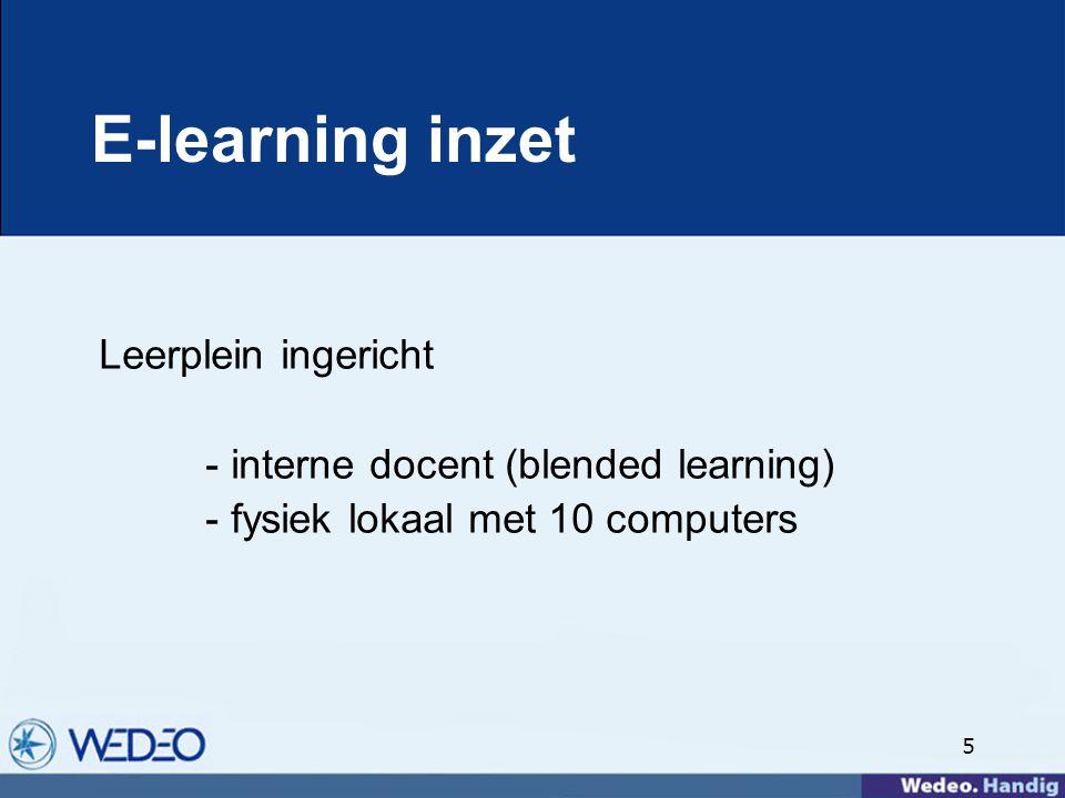 5 E-learning inzet Leerplein ingericht - interne docent (blended learning) - fysiek lokaal met 10 computers