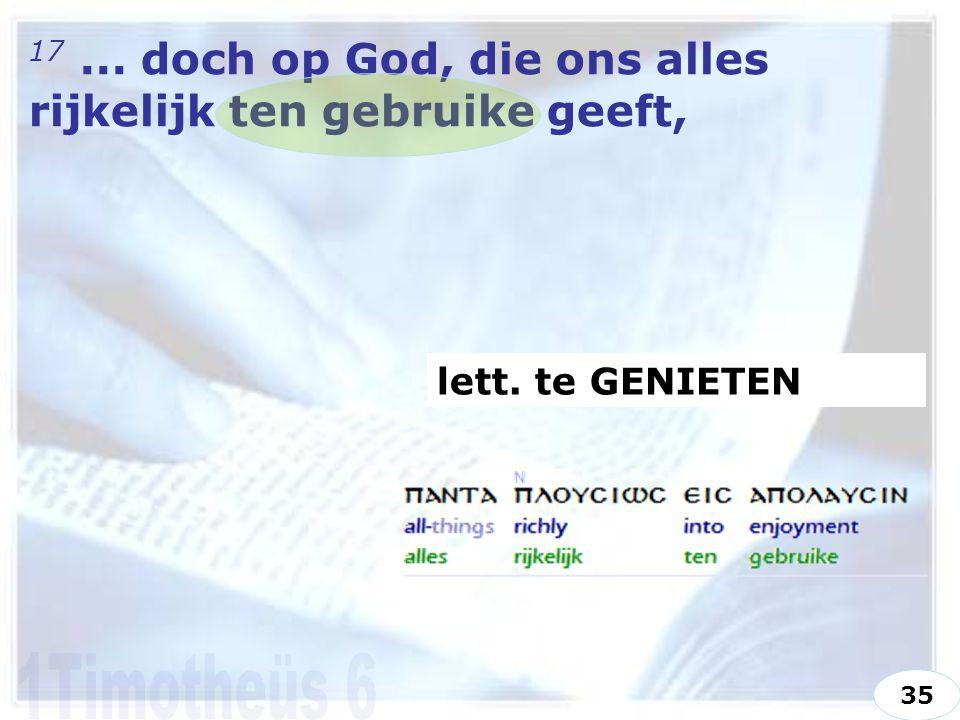 17... doch op God, die ons alles rijkelijk ten gebruike geeft, lett. te GENIETEN 35