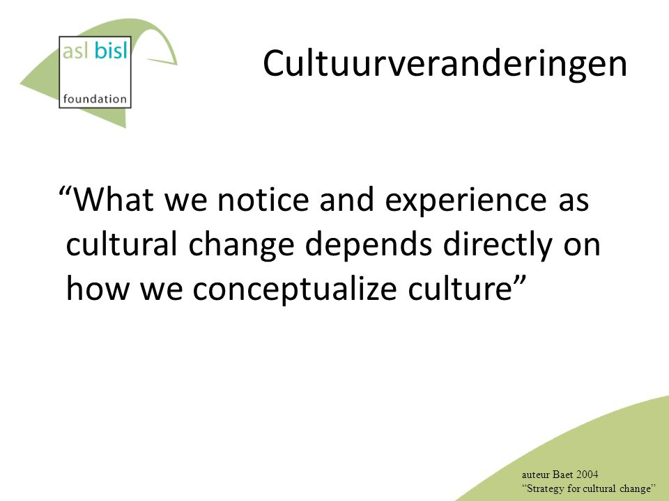 "Cultuurveranderingen ""What we notice and experience as cultural change depends directly on how we conceptualize culture"" auteur Baet 2004 ""Strategy fo"