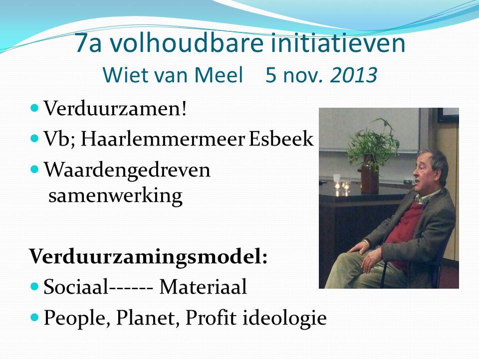 7a volhoudbare initiatieven Wiet van Meel 5 nov. 2013 Verduurzamen! Vb; Haarlemmermeer Esbeek Waardengedreven samenwerking Verduurzamingsmodel: Sociaa