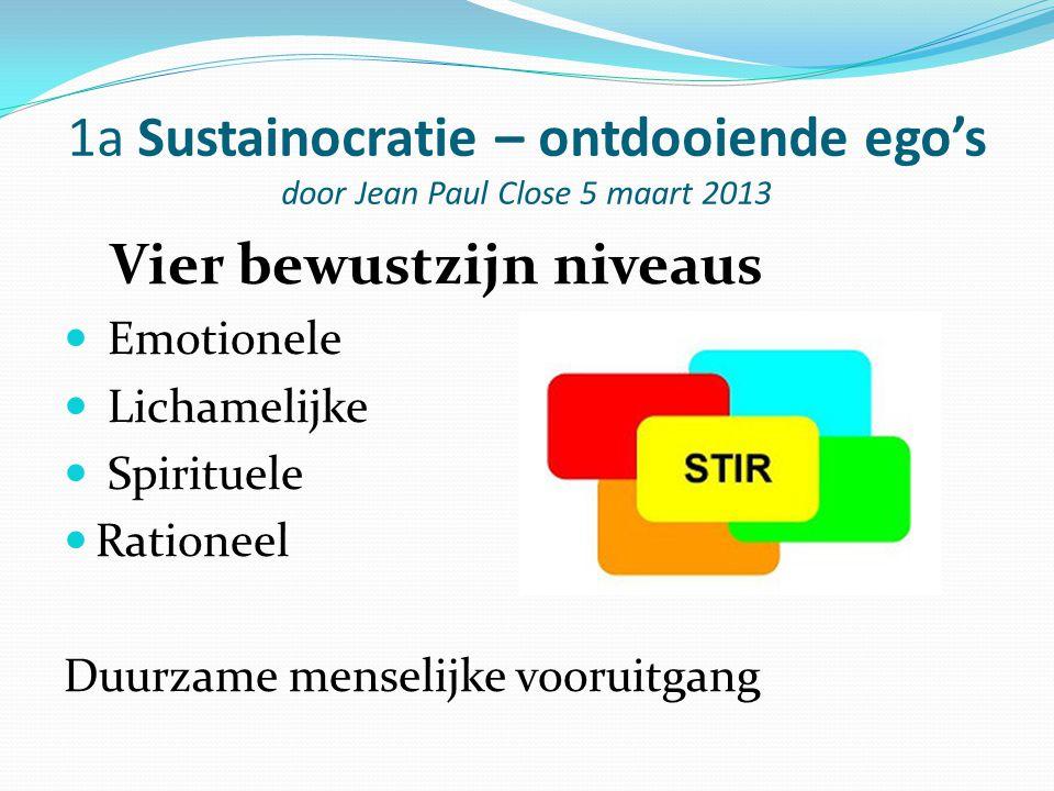 1a Sustainocratie – ontdooiende ego's door Jean Paul Close 5 maart 2013 Vier bewustzijn niveaus Emotionele Lichamelijke Spirituele Rationeel Duurzame