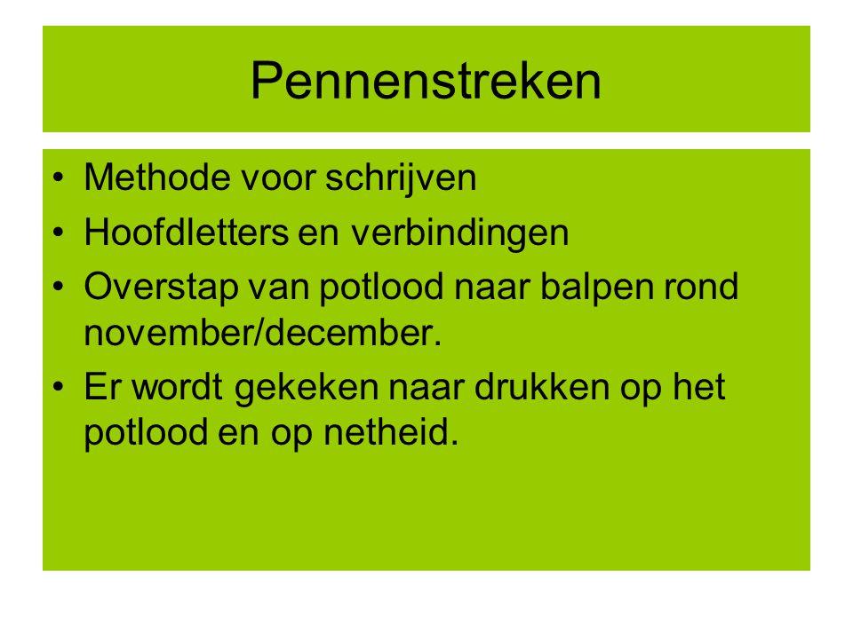 Pennenstreken Methode voor schrijven Hoofdletters en verbindingen Overstap van potlood naar balpen rond november/december.
