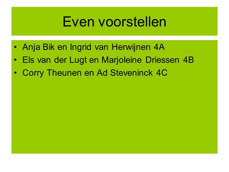Even voorstellen Anja Bik en Ingrid van Herwijnen 4A Els van der Lugt en Marjoleine Driessen 4B Corry Theunen en Ad Steveninck 4C