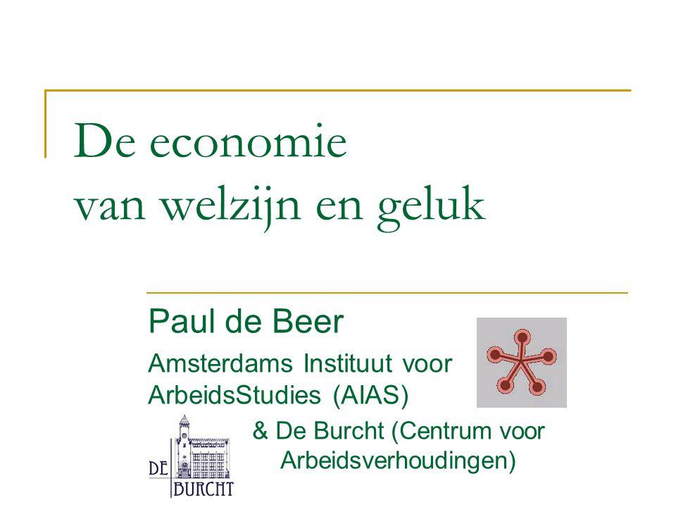 De economie van welzijn en geluk Paul de Beer Amsterdams Instituut voor ArbeidsStudies (AIAS) & De Burcht (Centrum voor Arbeidsverhoudingen)