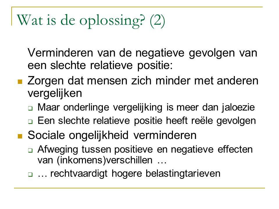Wat is de oplossing? (2) Verminderen van de negatieve gevolgen van een slechte relatieve positie: Zorgen dat mensen zich minder met anderen vergelijke