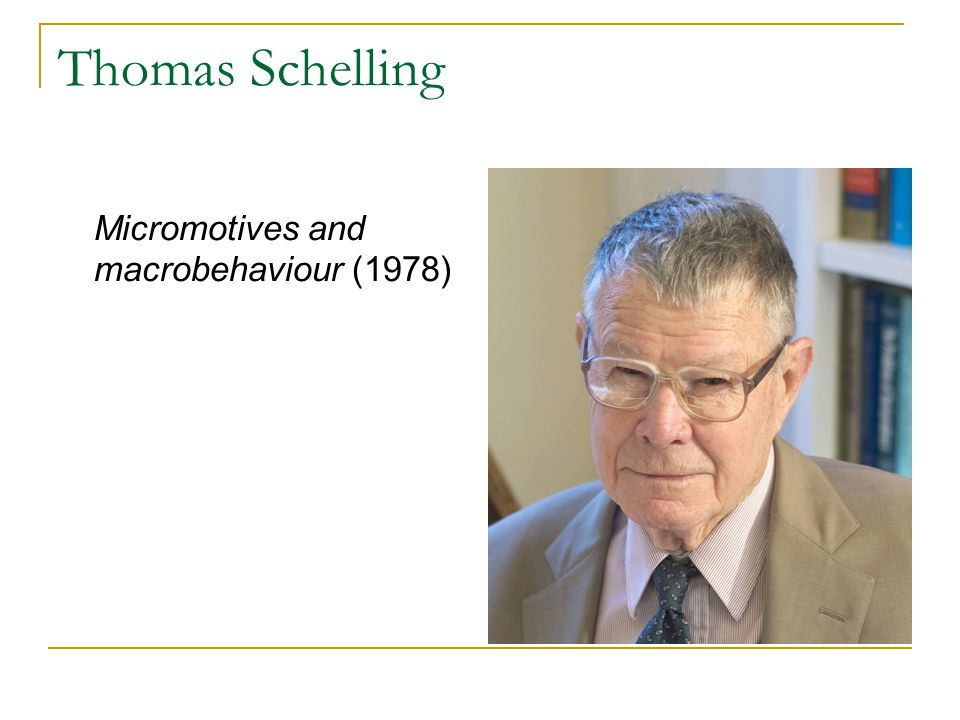 Thomas Schelling Micromotives and macrobehaviour (1978)