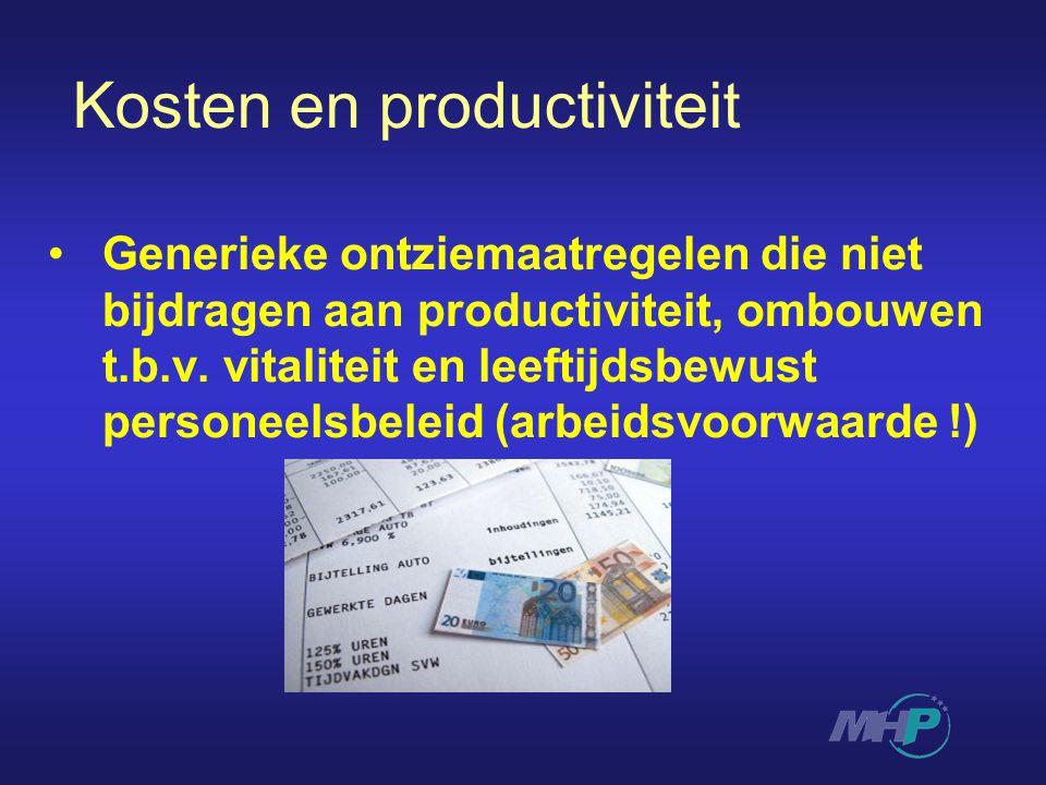 Kosten en productiviteit Generieke ontziemaatregelen die niet bijdragen aan productiviteit, ombouwen t.b.v.