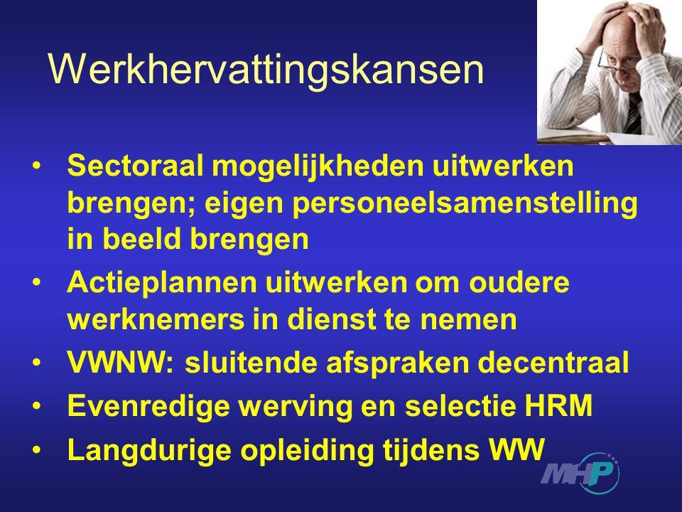 Werkhervattingskansen Sectoraal mogelijkheden uitwerken brengen; eigen personeelsamenstelling in beeld brengen Actieplannen uitwerken om oudere werknemers in dienst te nemen VWNW: sluitende afspraken decentraal Evenredige werving en selectie HRM Langdurige opleiding tijdens WW