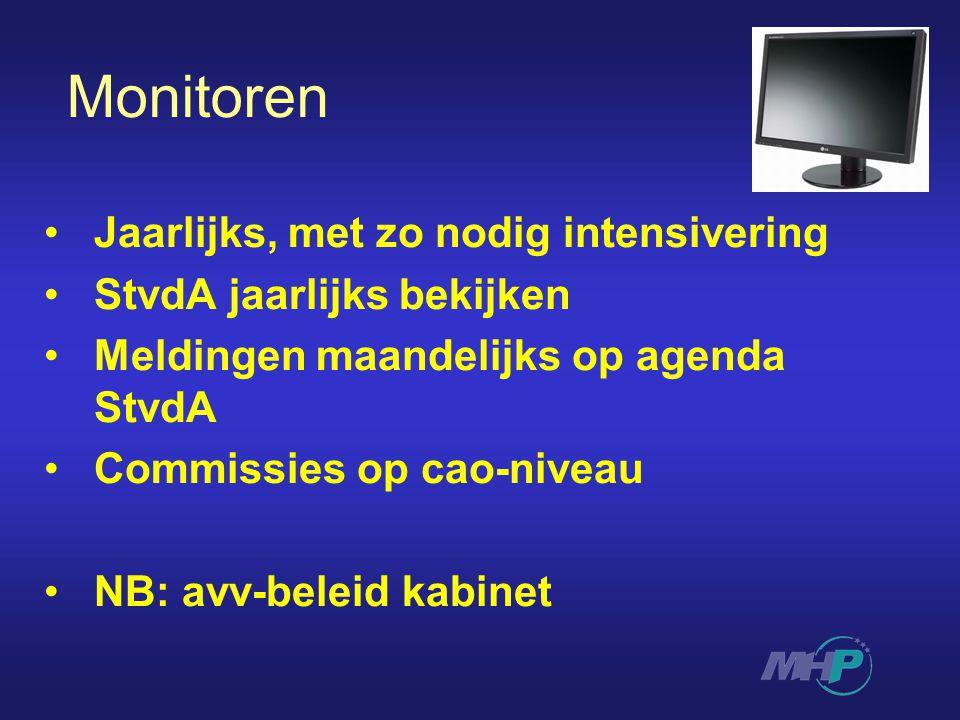 Monitoren Jaarlijks, met zo nodig intensivering StvdA jaarlijks bekijken Meldingen maandelijks op agenda StvdA Commissies op cao-niveau NB: avv-beleid kabinet
