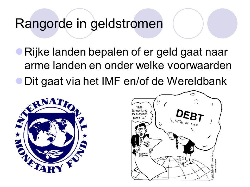 Rangorde in geldstromen Rijke landen bepalen of er geld gaat naar arme landen en onder welke voorwaarden Dit gaat via het IMF en/of de Wereldbank