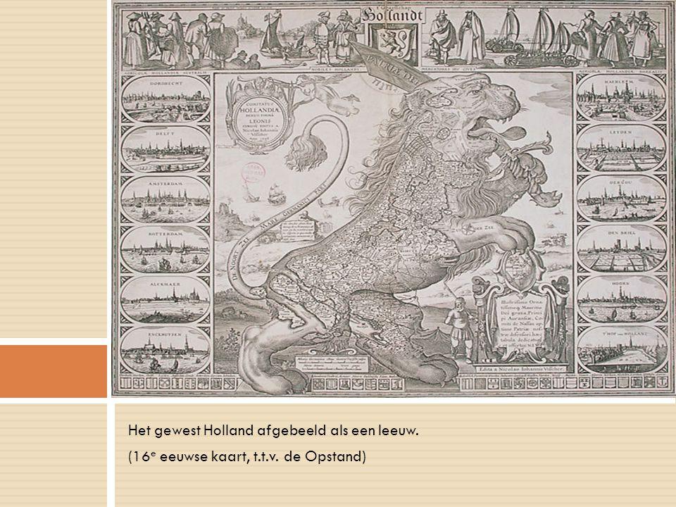 Het gewest Holland afgebeeld als een leeuw. (16 e eeuwse kaart, t.t.v. de Opstand)