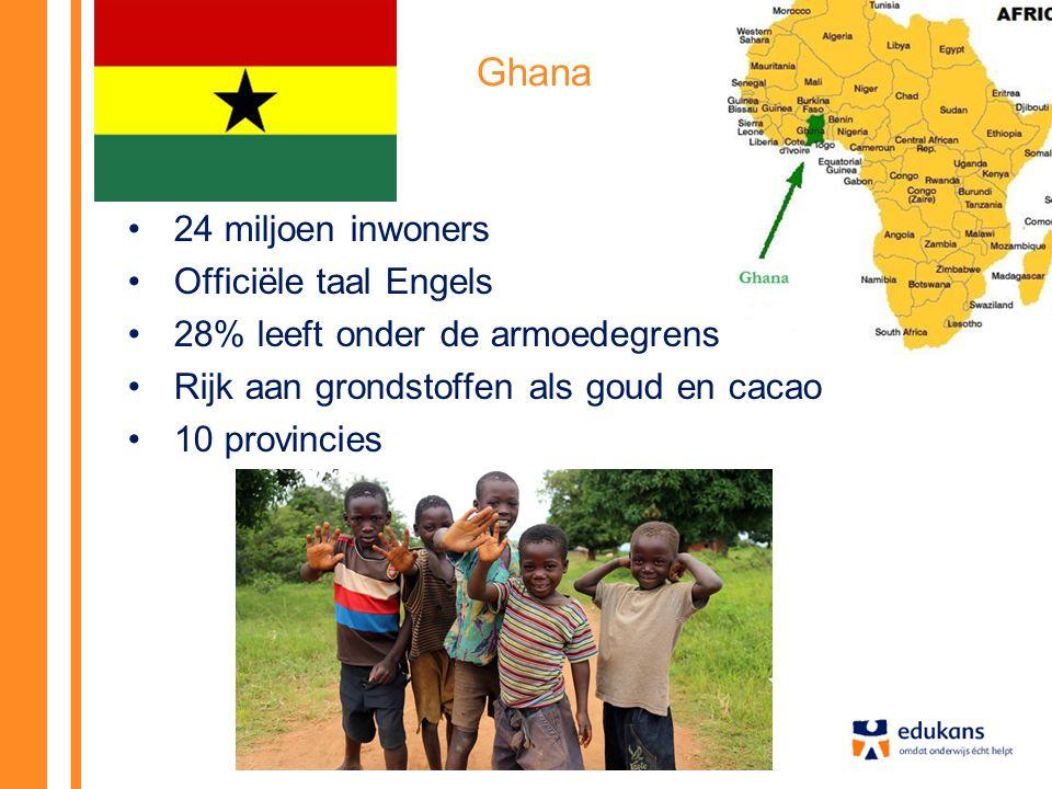 Ghana 24 miljoen inwoners Officiële taal Engels 28% leeft onder de armoedegrens Rijk aan grondstoffen als goud en cacao 10 provincies