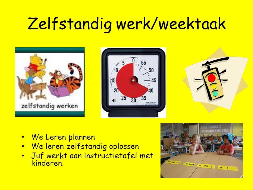 Zelfstandig werk/weektaak We Leren plannen We leren zelfstandig oplossen Juf werkt aan instructietafel met kinderen.