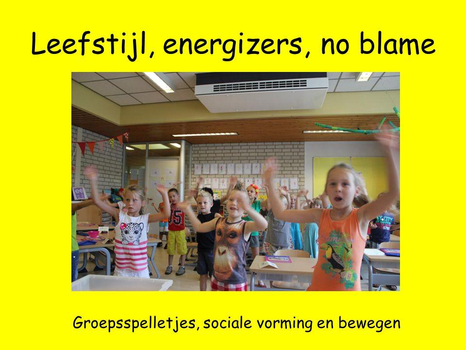 Leefstijl, energizers, no blame Groepsspelletjes, sociale vorming en bewegen