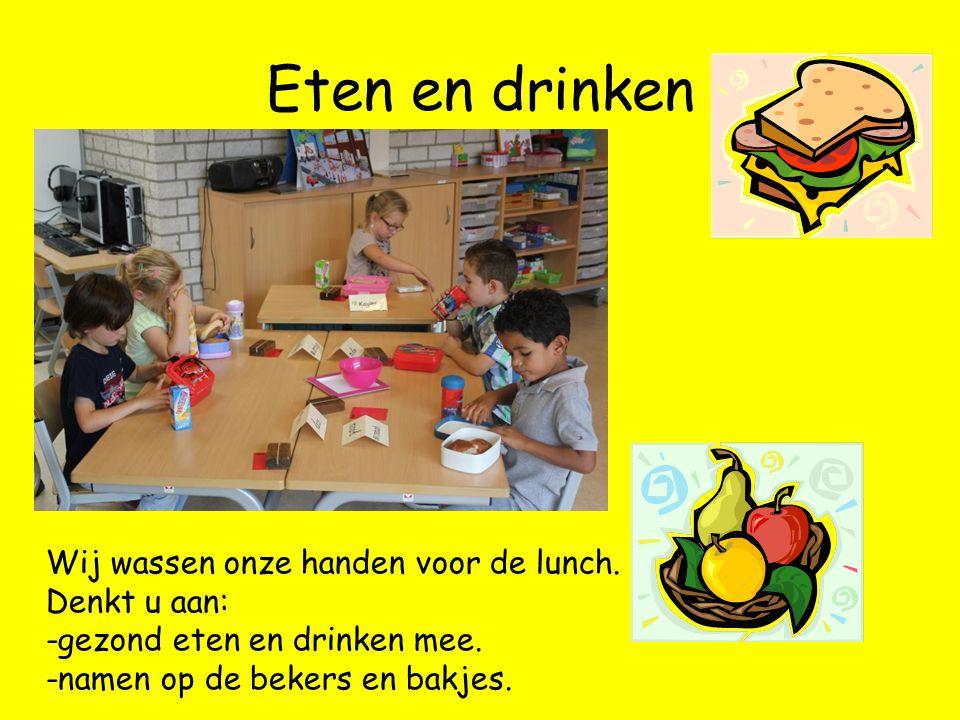 Eten en drinken Wij wassen onze handen voor de lunch.