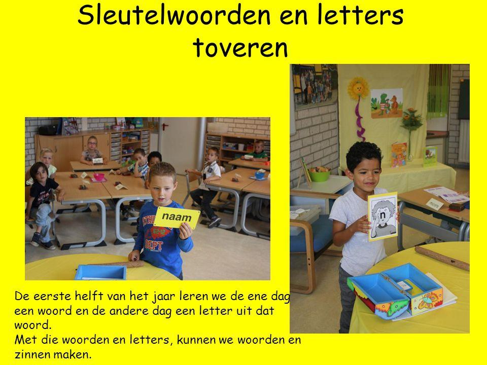 Sleutelwoorden en letters toveren De eerste helft van het jaar leren we de ene dag een woord en de andere dag een letter uit dat woord.