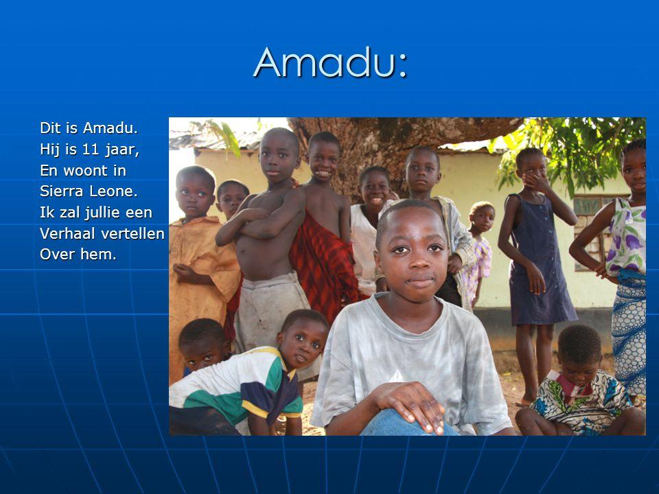 Amadu: Dit is Amadu. Hij is 11 jaar, En woont in Sierra Leone. Ik zal jullie een Verhaal vertellen Over hem.