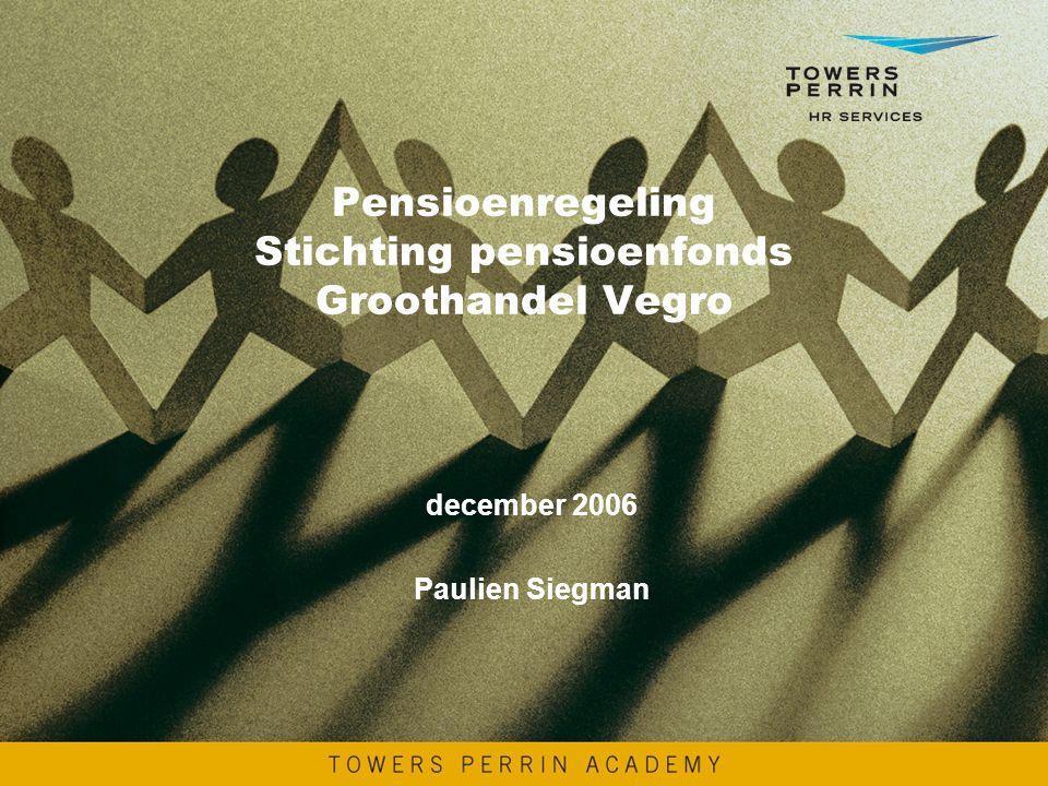 Pensioenregeling Stichting pensioenfonds Groothandel Vegro december 2006 Paulien Siegman