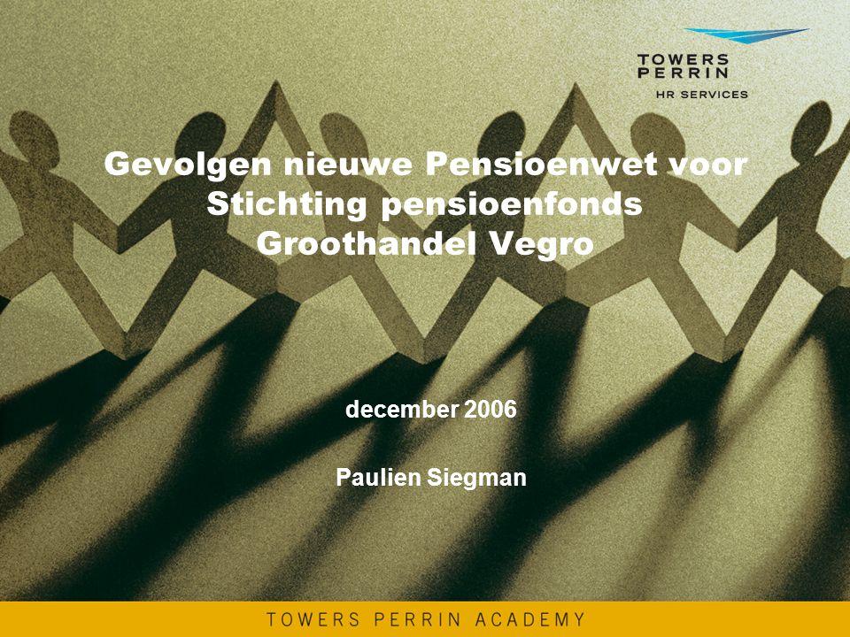 Gevolgen nieuwe Pensioenwet voor Stichting pensioenfonds Groothandel Vegro december 2006 Paulien Siegman