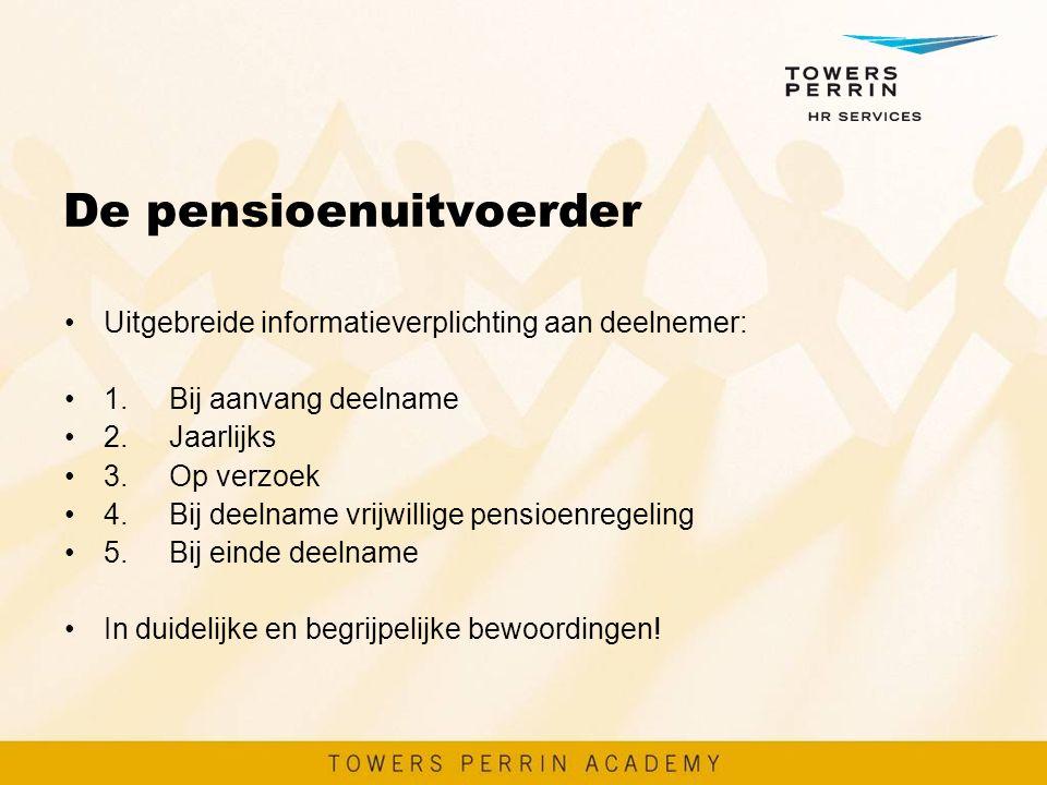 De pensioenuitvoerder Uitgebreide informatieverplichting aan deelnemer: 1.Bij aanvang deelname 2.Jaarlijks 3.Op verzoek 4.Bij deelname vrijwillige pen