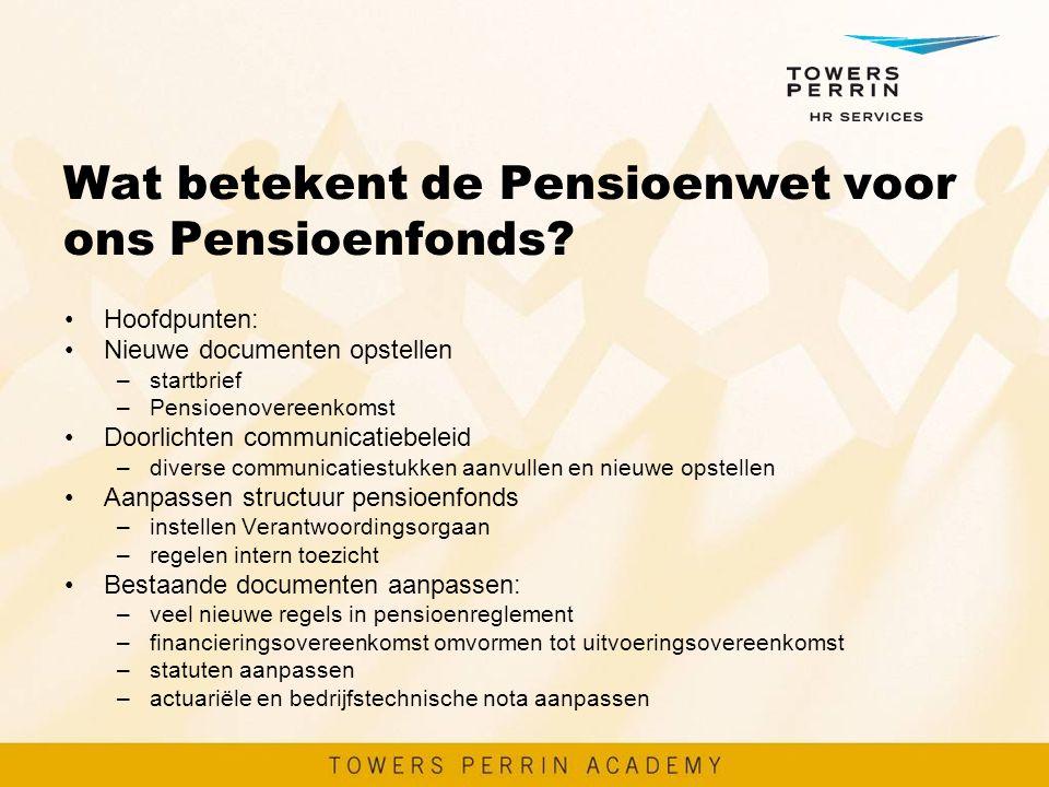 Wat betekent de Pensioenwet voor ons Pensioenfonds? Hoofdpunten: Nieuwe documenten opstellen –startbrief –Pensioenovereenkomst Doorlichten communicati
