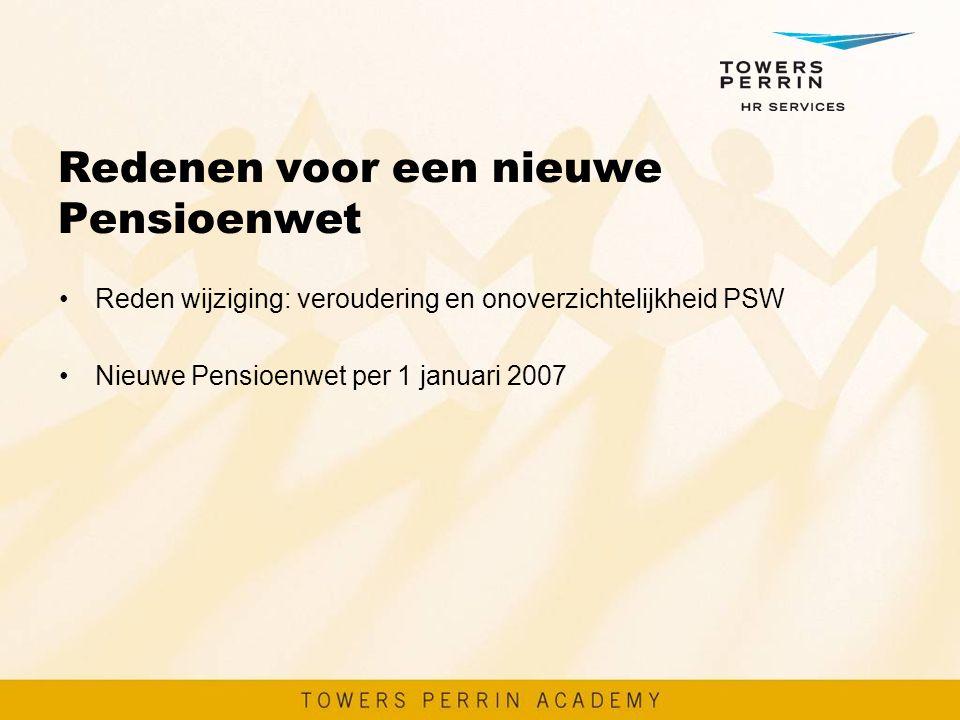 Redenen voor een nieuwe Pensioenwet Reden wijziging: veroudering en onoverzichtelijkheid PSW Nieuwe Pensioenwet per 1 januari 2007