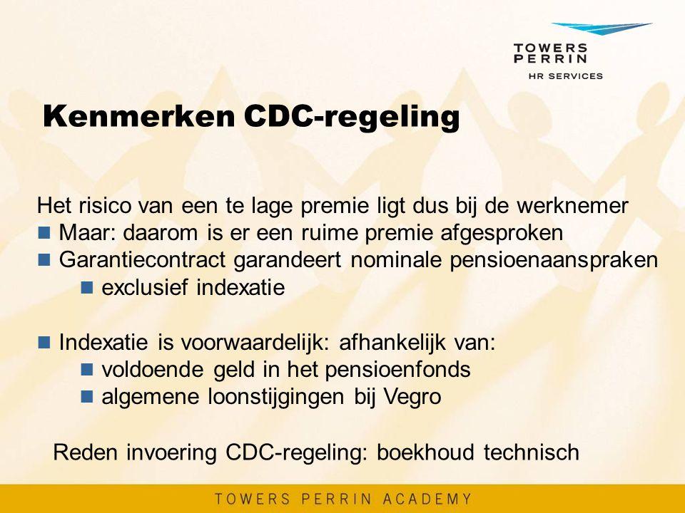 Kenmerken CDC-regeling Het risico van een te lage premie ligt dus bij de werknemer n Maar: daarom is er een ruime premie afgesproken n Garantiecontrac