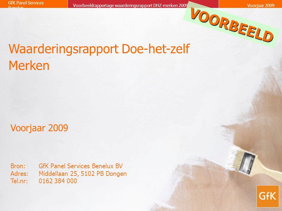 12 GfK Panel Services Benelux Waarderingsrapport Doe-het-zelf merkenVoorjaar 2009 Kwaliteit van de producten Gemiddelde score6.00 Belang 3.00 VOORBEELD