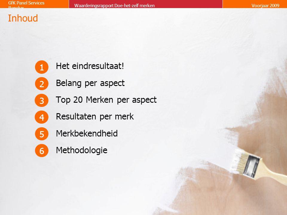 2 GfK Panel Services Benelux Waarderingsrapport Doe-het-zelf merkenVoorjaar 2009 Het eindresultaat! Belang per aspect Top 20 Merken per aspect Resulta