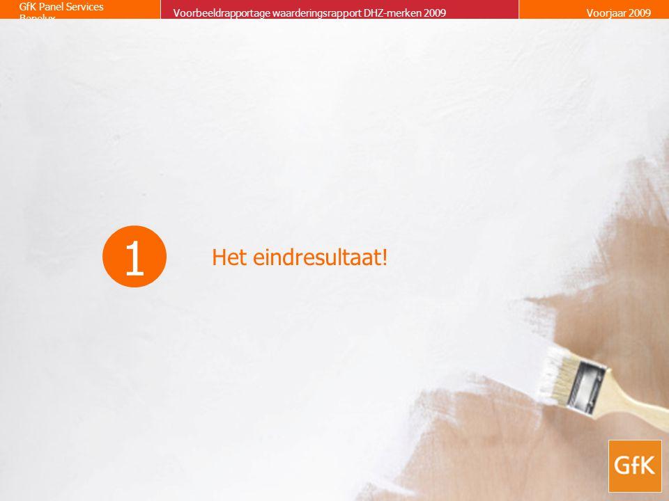 GfK Panel Services Benelux Voorbeeldrapportage waarderingsrapport DHZ-merken 2009Voorjaar 2009 Het eindresultaat! 1