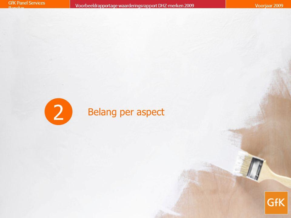 8 GfK Panel Services Benelux Waarderingsrapport Doe-het-zelf merkenVoorjaar 2009 Belang per aspect Op 1-5 schaal VOORBEELD