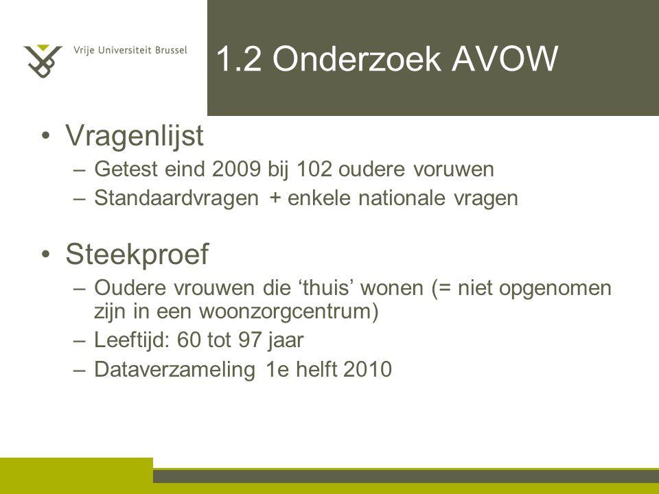 1.2 Onderzoek AVOW Vragenlijst –Getest eind 2009 bij 102 oudere voruwen –Standaardvragen + enkele nationale vragen Steekproef –Oudere vrouwen die 'thu