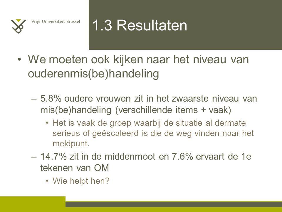 1.3 Resultaten We moeten ook kijken naar het niveau van ouderenmis(be)handeling –5.8% oudere vrouwen zit in het zwaarste niveau van mis(be)handeling (