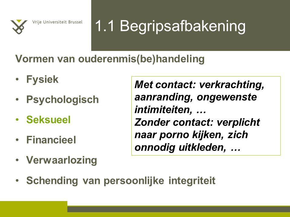 1.1 Begripsafbakening Vormen van ouderenmis(be)handeling Fysiek Psychologisch Seksueel Financieel Verwaarlozing Schending van persoonlijke integriteit