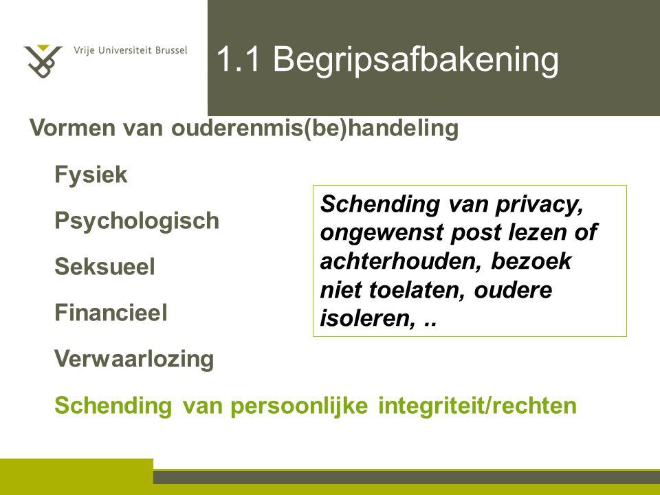 1.1 Begripsafbakening Schending van privacy, ongewenst post lezen of achterhouden, bezoek niet toelaten, oudere isoleren,.. Vormen van ouderenmis(be)h