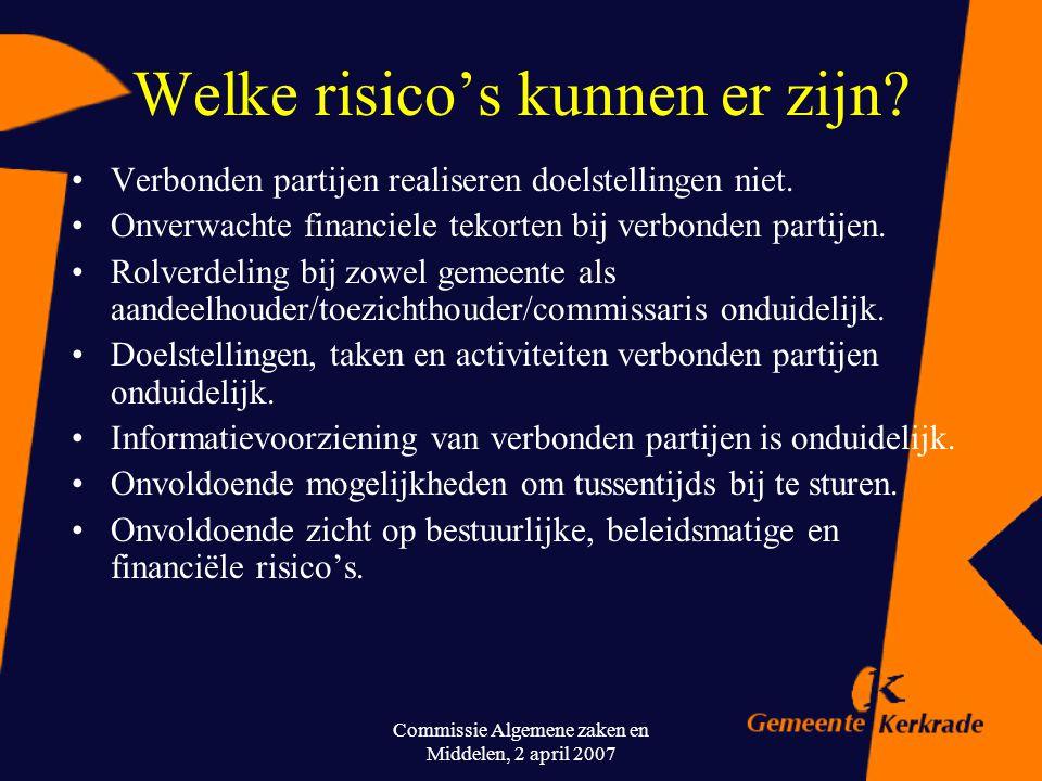 Commissie Algemene zaken en Middelen, 2 april 2007 Verbonden partijen in Kerkrade (voorbeelden) Verbonden partijKerkrade Stichtingen en verenigingenCu