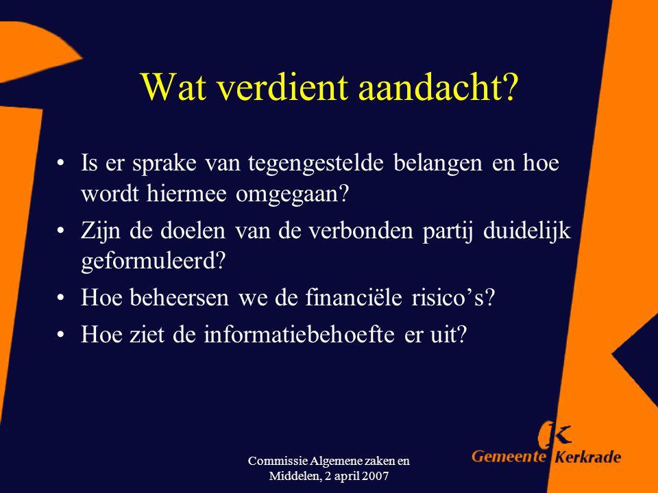 Commissie Algemene zaken en Middelen, 2 april 2007 Welke risico's kunnen er zijn? Verbonden partijen realiseren doelstellingen niet. Onverwachte finan