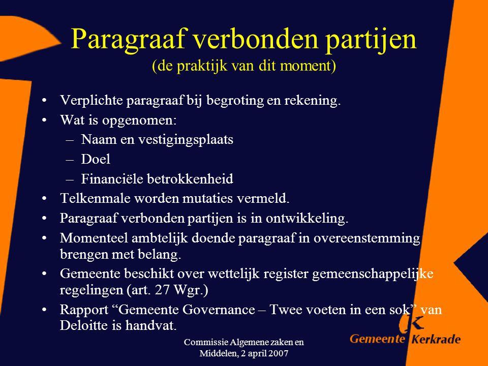 Commissie Algemene zaken en Middelen, 2 april 2007 Hoe gaat gemeente met risico's om? (een mogelijke aanpak) Controlemechanismen/governance aspecten S