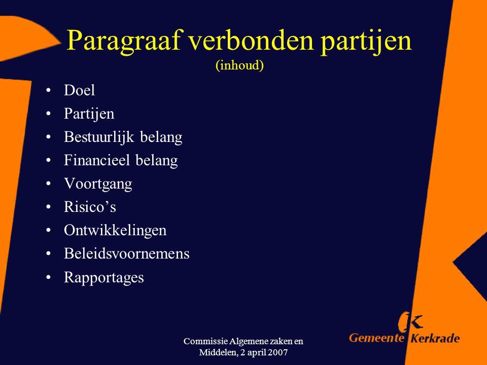 Commissie Algemene zaken en Middelen, 2 april 2007 Paragraaf verbonden partijen (de praktijk van dit moment) Verplichte paragraaf bij begroting en rek