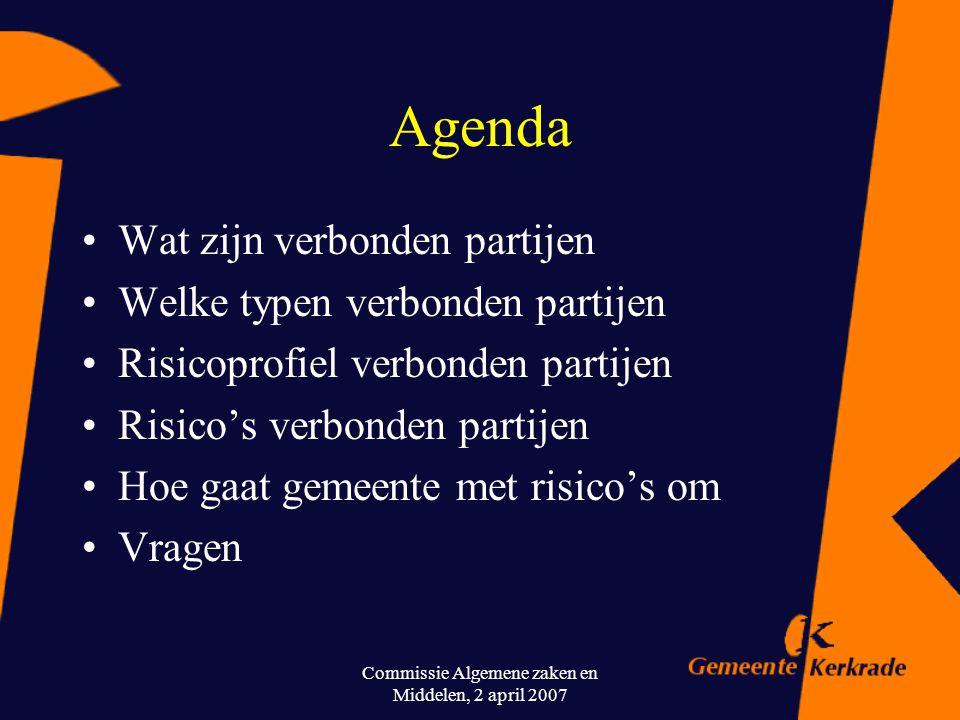 Commissie Algemene zaken en Middelen, 2 april 2007 Verbonden partijen Samen werken met met aandacht voor ieders belangen en regels om deze belangen te