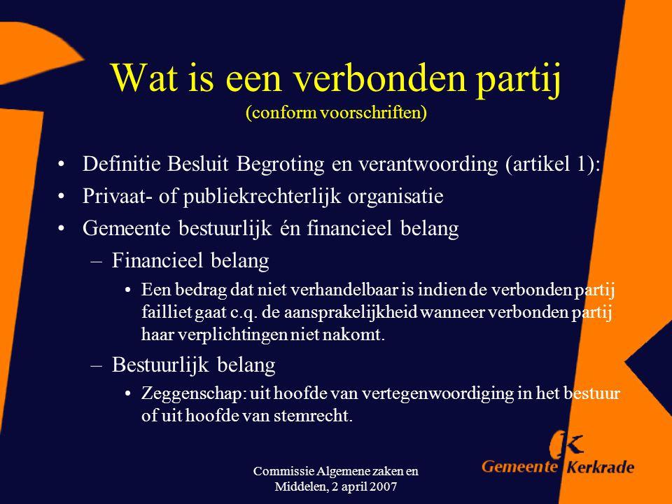 Commissie Algemene zaken en Middelen, 2 april 2007 Wat is een verbonden partij? (populair gesteld) Een verbonden partij kan worden gezien als één van