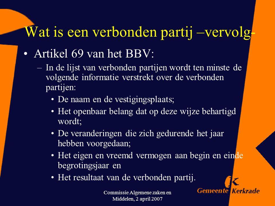 Commissie Algemene zaken en Middelen, 2 april 2007 Wat is een verbonden partij –vervolg- Artikel 15 van het BBV: De paragraaf betreffende de verbonden