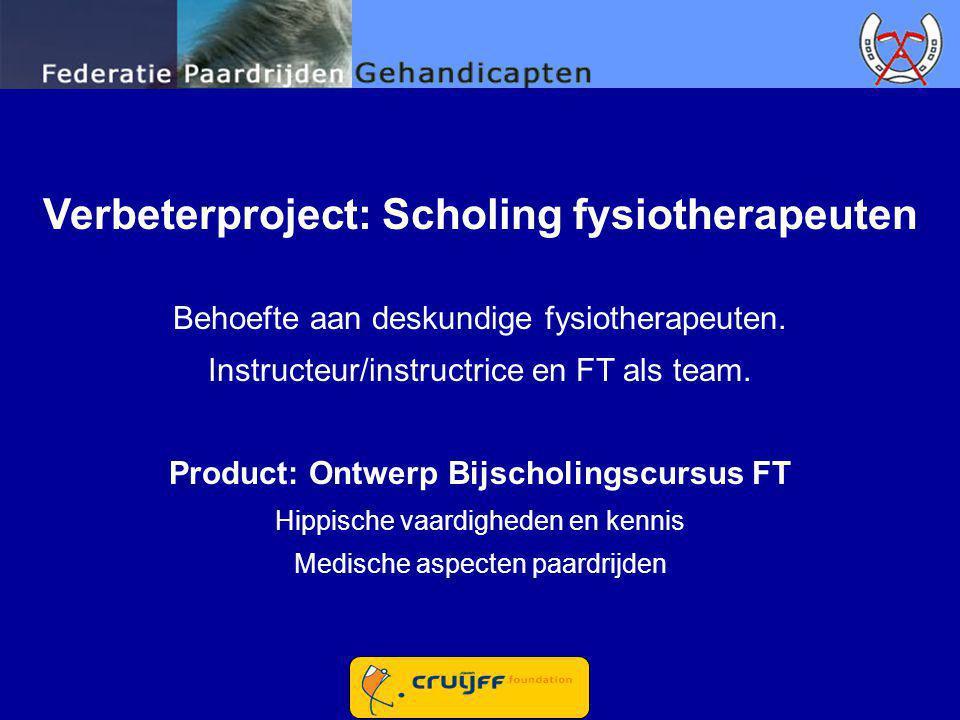 Verbeterproject: Scholing fysiotherapeuten Behoefte aan deskundige fysiotherapeuten. Instructeur/instructrice en FT als team. Product: Ontwerp Bijscho