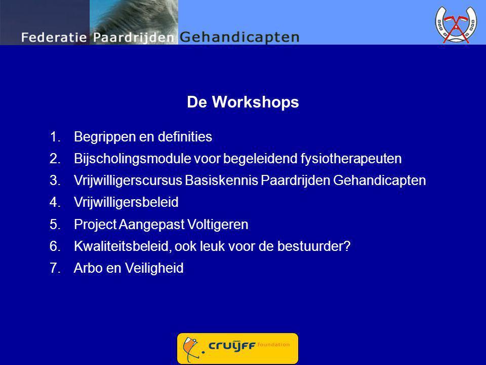 De Workshops 1.Begrippen en definities 2.Bijscholingsmodule voor begeleidend fysiotherapeuten 3.Vrijwilligerscursus Basiskennis Paardrijden Gehandicap