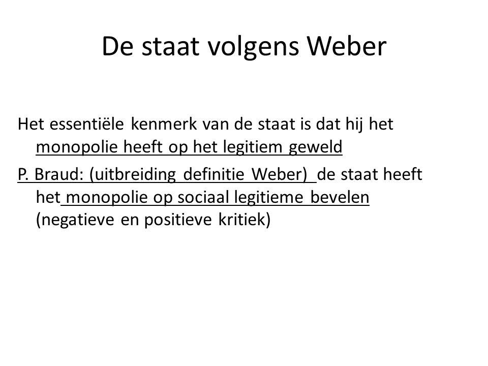 De staat volgens Weber Het essentiële kenmerk van de staat is dat hij het monopolie heeft op het legitiem geweld P. Braud: (uitbreiding definitie Webe